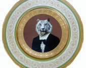 Timeless Tiger Altered Antique Plate 11""