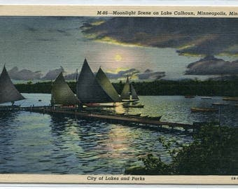 Sail Boats Yachts Moonlight Night Lake Calhoun Minnepolis Minnesota linen postcard