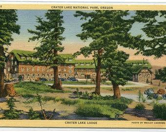 Crater Lake Lodge National Park Oregon linen postcard