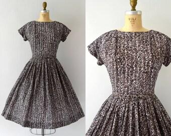 1950s Vintage Dress - 50s Brown Sketch Print Cotton Day Dress