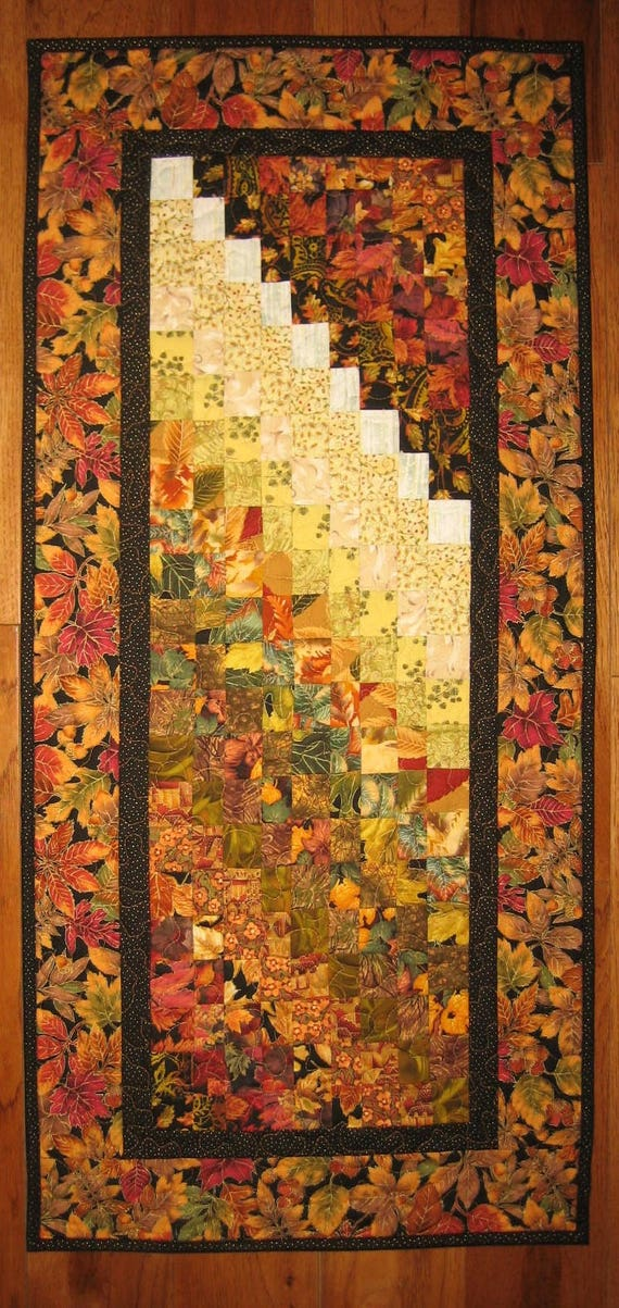 Earth Tones Contemporary Art Quilt Fabric Wall Hanging Fall Autumn Leaves Watercolor Wall Art Quilt Abstract Home or Office Decor