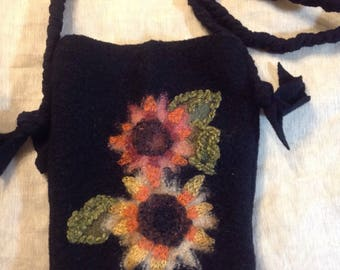 black ipad mini purse Felt wool with emboidered flower messenger bag kindle fire cross body purse upcycled wool Sweater hand sewn gift