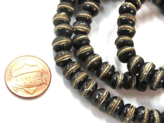 20 beads - 8 mm Tibetan brown black color bone beads with brass inlay - ML102C