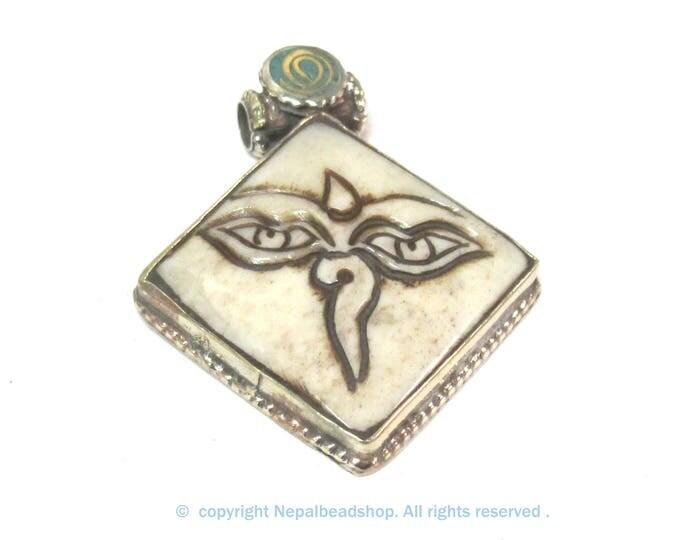 Ethnic Tibetan cream color carved Bone Buddha eye symbol pendant - PM594B