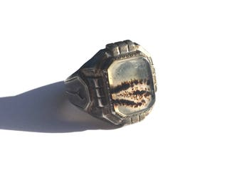 Deco Moss Agate Sterling Men's Ring
