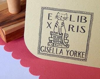 Bibliophile Cat Ex Libris Olive Wood Stamp