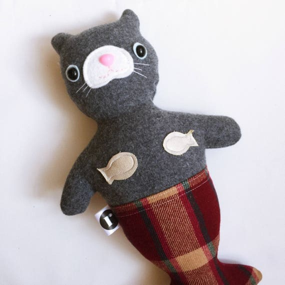 Cat Mermaid in Gray Wool - READY TO SHIP