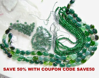 Green Onyx Beads, SAVE 50% WITH SAVE50 COUPON, Peridot Beads, Green Gemstone Beads, Grab Bag, Prehnite, Fluorite, Aventurine, Amazonite,