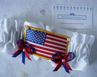 SALE PRICED Wedding Garter, Wedding Garters, Military Garters, US Flag Garters, Patriotic Garters, Red White Blue Garters, Satin Garters