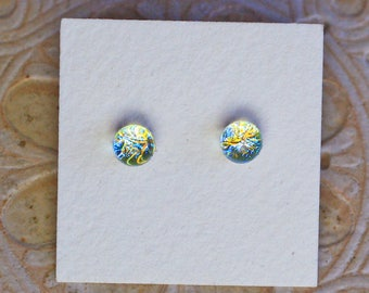 Dichroic Glass Earrings , Petite, Golden Blue Red  DGE-1233