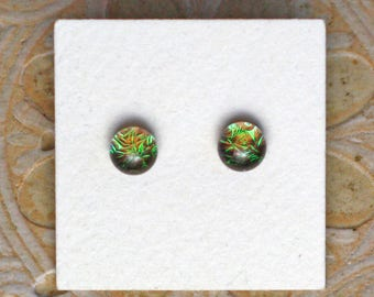 Dichroic Glass Earrings, Petite, Tarnished Bronze  DGE-1278