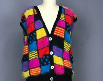 Patricia Roberts Patchwork  Angora Sweater Vest