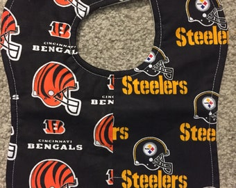 Cincinnati Bengals/ Pittsburgh Steelers House Divided Rival NFL Football Baby Bib