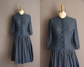 50s vintage navy blue cotton drop waist full skirt dress Lady Alice Small 1950s full skirt cotton dress