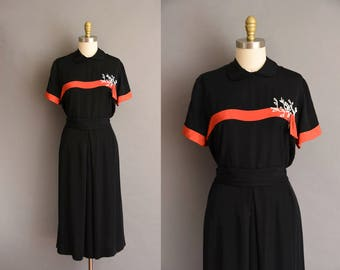 1940s Lane Bryant black rayon beaded vintage dress. vintage 40s dress