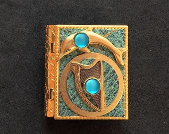 Dolphin and Celtic Harp - miniature book pin