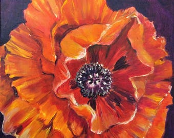 Oriental Red Poppy original floral oil painting 10x10 Art by Delilah