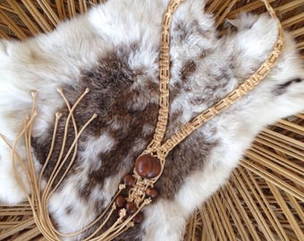 Vintage 70's Macrame Lariat Necklace / Handmade Natural Rope and Wood Beads / Hippie Boho Festival