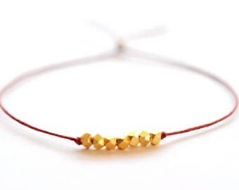 SALE Wish bracelet -  Red Irish linen cord thread and gold nuggets