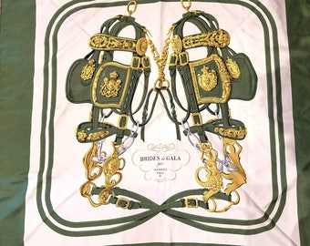 vintage Hermes Brides de Gala scarf Paris silk jacquard authentic green white horsey set equestrian preppy designer