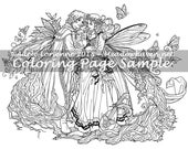"""A Meadowhaven Fantasy Coloring Page Download: """"Fairy Gift"""""""