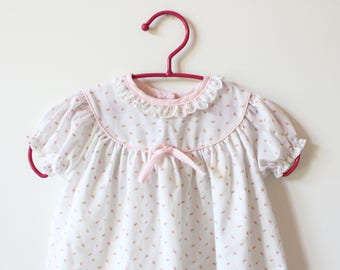 vintage girl's dress 70's children's clothing white pink floral print bow lace long 1980's size 6 mos months