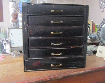 vintage handmade wooden box with drawers - small storage, vintage handmade - as is