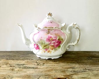 RS Prussia Single Serve teapot for one / stunning ornate Victorian floral teapot