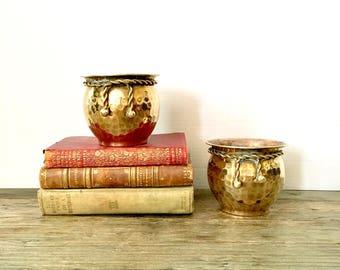 Pair of Small Brass Planters / hammered patina brass planter with tassel
