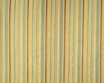 Blue Brown Stripe Polyester Fabric