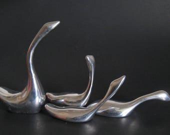 Hoselton Geese Aluminum Circa 1980s Small Silver Tone Figurines
