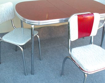 vintage red formica table and three chairs pick up only in westchester il - Chrome Kitchen Table