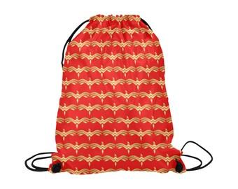 Wonder Woman W Drawstring Bag | Bold Graphic Art Print | Lightweight | Swim Sport School Shopping | Bright Background | Marvel Super Hero