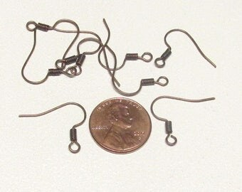 17mm Antique Copper Round Ear Wires w/spring Round Fishhook Earwires 17mm Fishhook Ear Wires