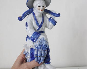 Blue and White Asian Female Figurine