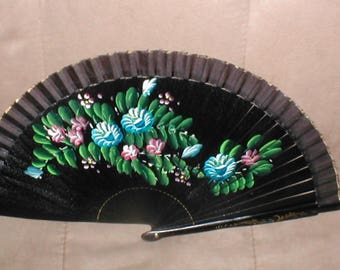 Antique Hand Painted lacquer Folding Fan circa 1930