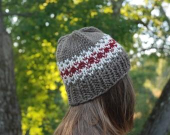Tan and Red Fair Isle Knit Hat, Fair Isle Hat, Knit Hat, Women's Knit Hat, Men's Knit Hat, Hand Knit Hat, Knit Hat, Chunky Knit Hat