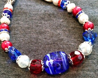 Patriotic Red White n Blue Necklace OOAK with handmade in the USA lampwork bead focal