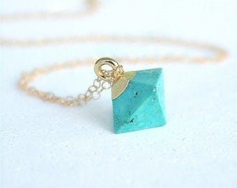 Turquoise Necklace, Turquoise Jewelry, Gold Turquoise, Boho Necklace, Dainty Necklace, Gold Turquoise, Bohemian Necklace, Gift, Gold Filled