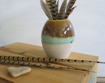 Brown, White and Aqua Green Ceramic Flower Vase Home Decor Gift Idea, Handmade Artisan Pottery by Licia Lucas Pfadt