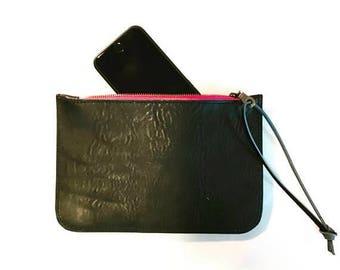 summer sale black leather clutch. ipad clutch. iphone clutch. sllim leather zipper wallet