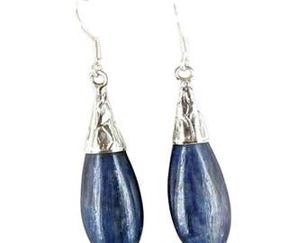 Summer Sale : ) Kyanite Earrings Sterling Silver Teardrop Floral