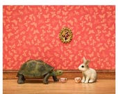 30% OFF SALE Storybook animal art print, turtle and rabbit: The Tortoise and the Hare