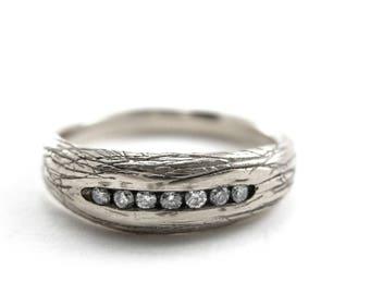 Branch Platinum Wedding band | platinum branch ring | Diamond wedding band | platinum diamond ring | Size 9 Ring | wedding bands women