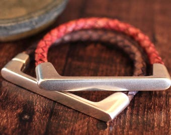 Silver Cuff Bracelet Braided Leather Bangle Womens Bracelet Mens Jewelry Unisex Stacking Bracelets Gift Under 40 Magnetic Bracelet  Unusual