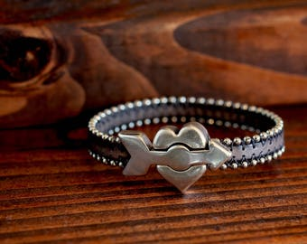 Heart Bracelet Valentine Jewelry Love Gift Heart and Arrow Leather Bracelet Gift For Her Teen Gift Unisex His and Hers Jewelry Under 50