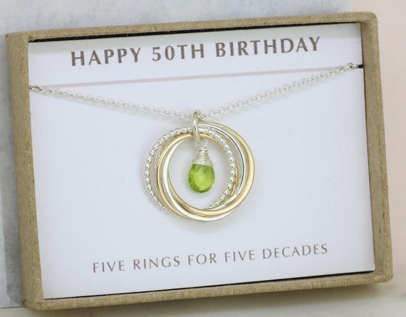 50th birthday gift peridot necklace august birthstone
