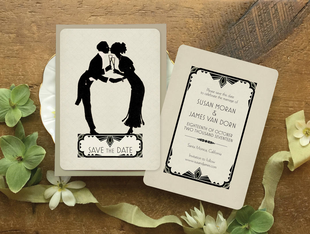 art deco vintage save the date 1920s wedding invitation. Black Bedroom Furniture Sets. Home Design Ideas