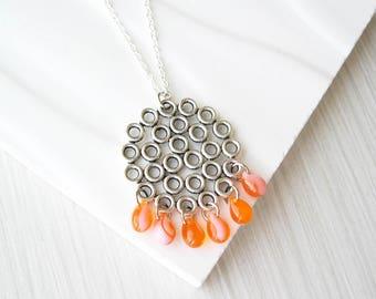 Long Orange Pendant Necklace - Silver Jewelry, Geometric, Boho, Layering, Czech Glass Drops, Teardrops, Pink, Trendy