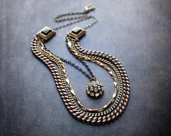 Antique Brass Multi Chain Necklace Bib Statement Rhinestone Dome Flashy Curb Chain Black Cab Layered Gold Mixed Metal Vintage
